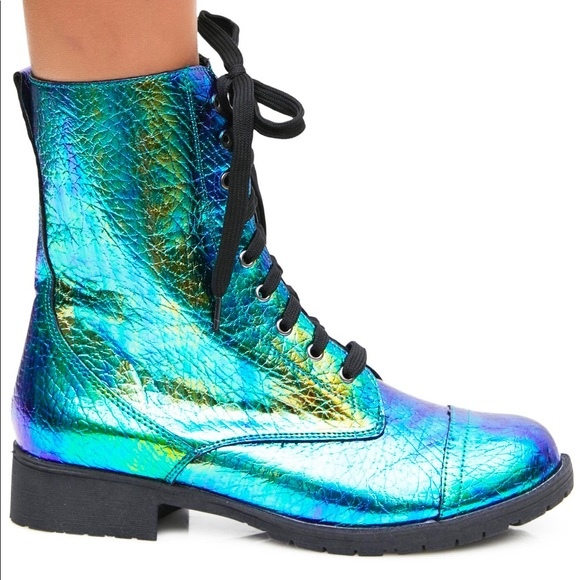 6750c3b861 Iridescent holographic mermaid combat biker boots